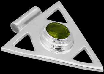 Faceted Peridot and .925 Sterling Silver Pendant MP097pr