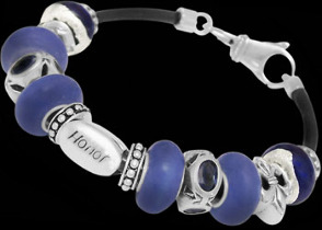 Blue Glass Beads Blue CZ Beads .925 Sterling Silver Beads and Black Leather bracelet PB613