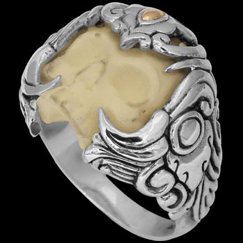 .925 Sterling Silver 22K Gold and Bone Skull Rings R2117