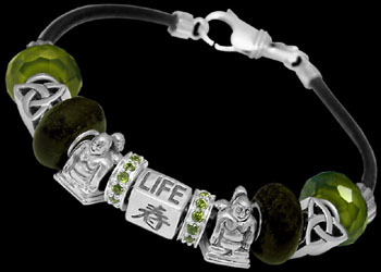Green Glass Beads Green Cubic Zirconia .925 Sterling Silver Beads and Black Leather bracelet PB150