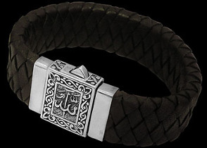 Genuine Black Leather and Sterling Silver Bracelets LB8126