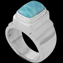 Men's Jewelry - Larimar and .925 Sterling Silver RingMR20 - Polish Finish