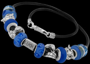 Blue Beads and .925 Sterling Silver Beads and Double Black Leather bracelet PB169