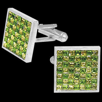 Stainless Steel Green and Yellow Cubic Zirconia Cufflinks STC2gr