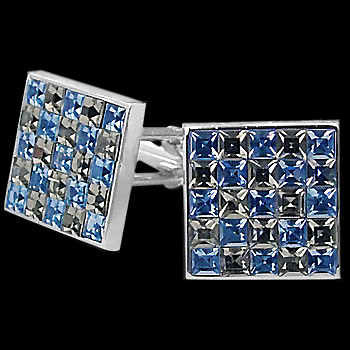 Stainless Steel Blue and Black Cubic Zirconia Cufflinks STC1bl