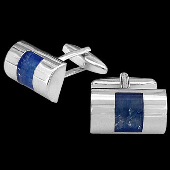 Stainless Steel and Blue Resin Cufflinks STC4bl