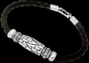 Black Synthetic Leather and Sterling Silver Bracelets BSL006 - 5mm