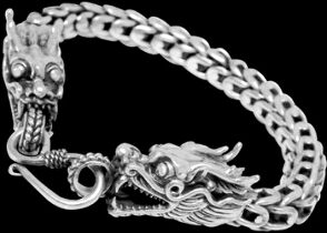 Gothic Jewelry - .925 Sterling Silver Bracelets Dragon 'Naga' Heads B1032 - Ornate Hook Clasp