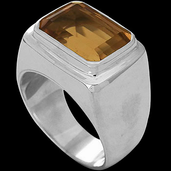 Men's Jewelry - Citrine and Sterling Silver Rings MR036FCT