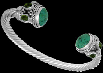 Celtic Jewelry - Turquoise Green Tourmaline and Sterling Silver Cable Bracelets B500gt