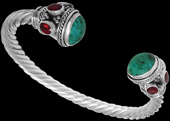 Gangsta Jewelry - Turquoise Ruby and Sterling Silver Cable Bracelets B500trrd