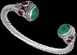 Grooms Gift - Turquoise Ruby and Sterling Silver Cable Bracelets B500trrd