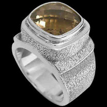Men's Jewelry - Smokey Quartz and Sterling Silver Rings MR20-4 - Rough Finish