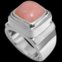 Men's Jewelry - Pink Opal and Sterling Silver Rings MR20-4 - Polish Finish