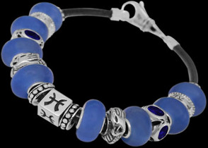 Blue Beads Blue Cubic Zirconias .925 Sterling Silver Beads and Black Leather bracelet PB183