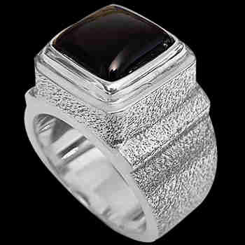 Men's Jewelry - Onyx and Sterling Silver Rings MR20-4 - Rough Finish