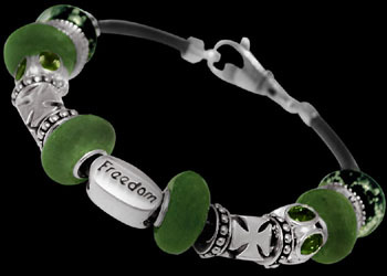 Green Beads Green Cubic Zirconias .925 Sterling Silver Beads and Black Leather bracelet PB207