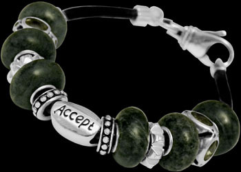 Green Beads Green Cubic Zirconias .925 Sterling Silver Beads and Black Leather bracelet PB616