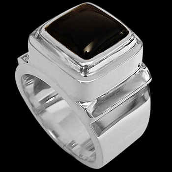 Men's Jewelry - Onyx and Sterling Silver Rings MR20-4 - Polish Finish