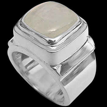 Men's Jewelry - Rainbow Moonstone and Sterling Silver Rings MR20-4 - Polish Finish