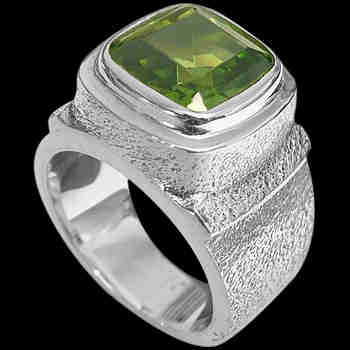 Gangster Jewelry - Peridot and Sterling Silver Rings MR20pr-4 - Rough Finish