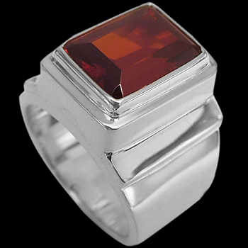 Men's Jewelry - Garnet and Sterling Silver Rings MR20B - Polished Finish