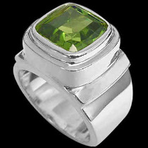 Gangster Jewelry - Peridot and Sterling Silver Rings MR20pr-4 - Polish Finish