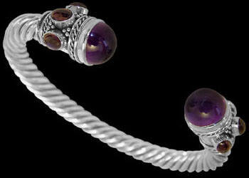 Jewelry - Cabochon Amethyst Garnet and Sterling Silver Cable Bracelets B500