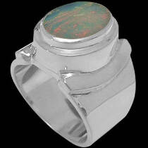 Men's Jewelry - Opal and Sterling Silver Rings MR026OPAL