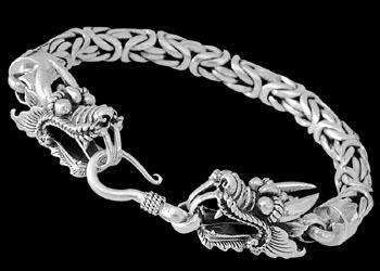Mens Jewelry - Sterling Silver Bracelets 'Guardian Dragon' B860B - Hook Clasp - 8mm