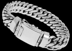 Gangster Jewelry - Sterling Silver Bracelets B463 - Security Clasp - 15mm