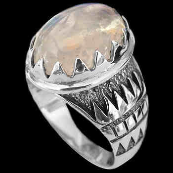 Men's Jewelry - Rainbow Moonstone and Sterling Silver Rings R689