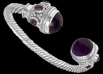 Celtic Jewelry - Cabochon Amethyst and Sterling Silver Celtic Cable Bracelets B500