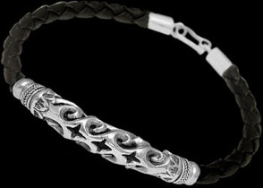 Black Synthetic Leather and Sterling Silver Bracelets B619 - 5mm