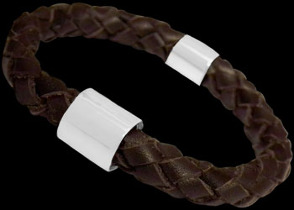 Genuine 8mm Brown Leather and Sterling Silver Bracelets SL058BR - 8mm