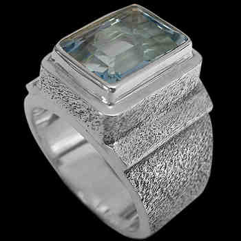 Men's Jewelry - Topaz and Sterling Silver Rings MR20B - Rough Finish