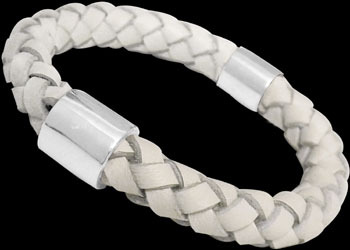 Genuine 10mm White Leather and Sterling Silver Bracelets SL058WHT - 10mm