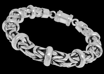 Mens Jewelry - Sterling Silver Bracelets B676B - Barrel Clasp - 8mm