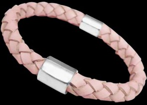Genuine 8mm Pink Leather and Sterling Silver Bracelets SL058PK - 8mm