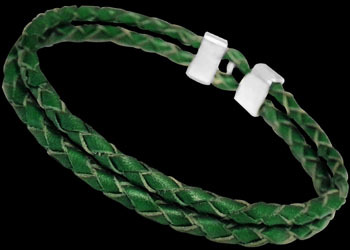 Genuine 2 x 3mm Green Leather and Sterling Silver Bracelets SL017GR