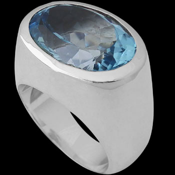 Men's Jewelry - Topaz and Sterling Silver Rings MR752TP - Polish Finish