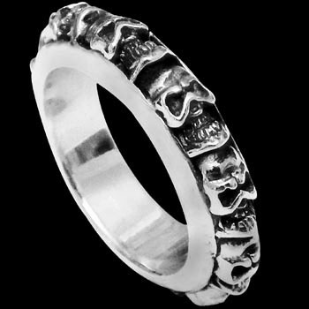 Gothic Jewellery - .925 Sterling Silver Rings R768-71 - Skull Band