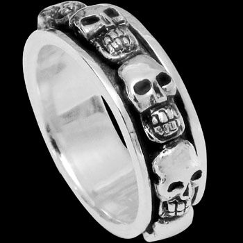 Mens Rings - Silver Rings R139-184 - Skull Spinning Ring