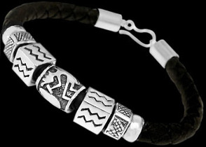 Black Synthetic leather and .925 Sterling Silver Beaded Bracelets PB602 - 6mm