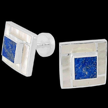 Men's Accessories - Lapis Lazuli White Mother of Pearl and Sterling Silver Cuff Links AZ510LAPIS