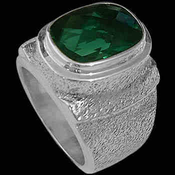 Men's Jewelry - Green Quartz and Sterling Silver Rings MR026