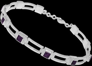 Gemstone Jewelry - Amethyst and Sterling Silver Bracelets B16
