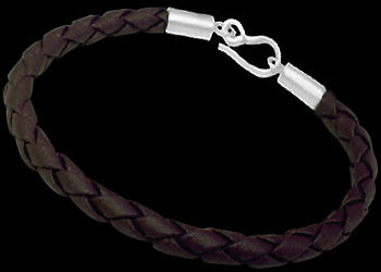 Brown Synthetic Leather and Sterling Silver Bracelets BSL500 - 5mm