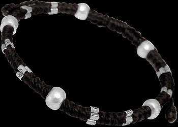 Sterling Silver Beads with Black Cotton Cord Bracelets B146BK by Kinnaree Designs