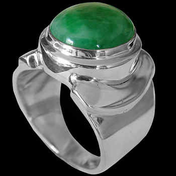 Men's Jewelry - Jade and Sterling Silver Rings MR026JADE